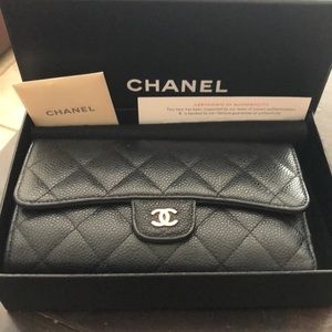 Caviar Quilted Classic Long Flap wallet Black GHW